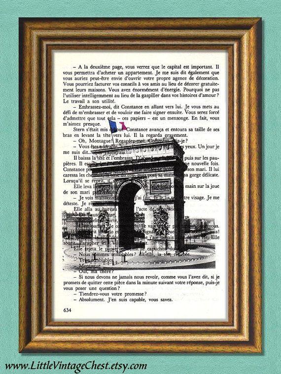 PARIS  Arc de Triomphe  Dictionary art print by littlevintagechest, $6.00