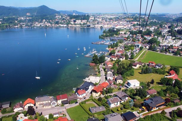 Gmunden, Austria — by Hanneke. View of Gmunden from Grunberg mountain cable car