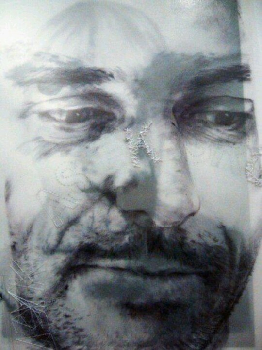 A detail of one of my selfportrais. Ballpoint pen, pencil and stitching on paper.