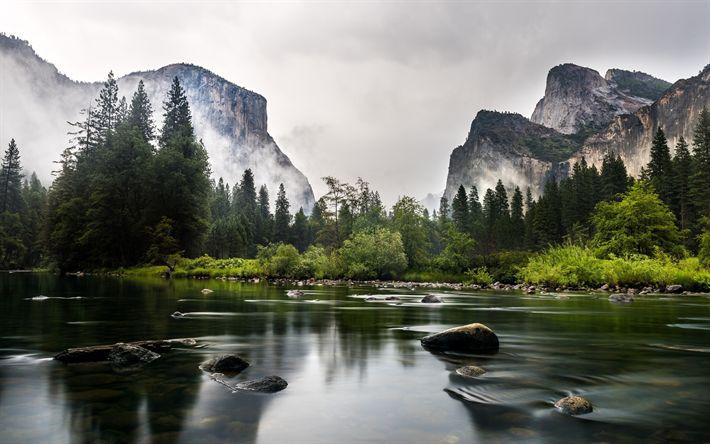 Scarica sfondi America, Nazionale di Yosemite, Parco, fiume, nebbia, Mariposa, California, stati UNITI, Nord America