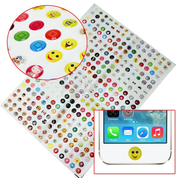 Iphone 6 Home Button Design Part - 19: 330 Pieces Cute Cartoon Home Button Stickers For IPhone 4 4S 5 5C 5S  Practical
