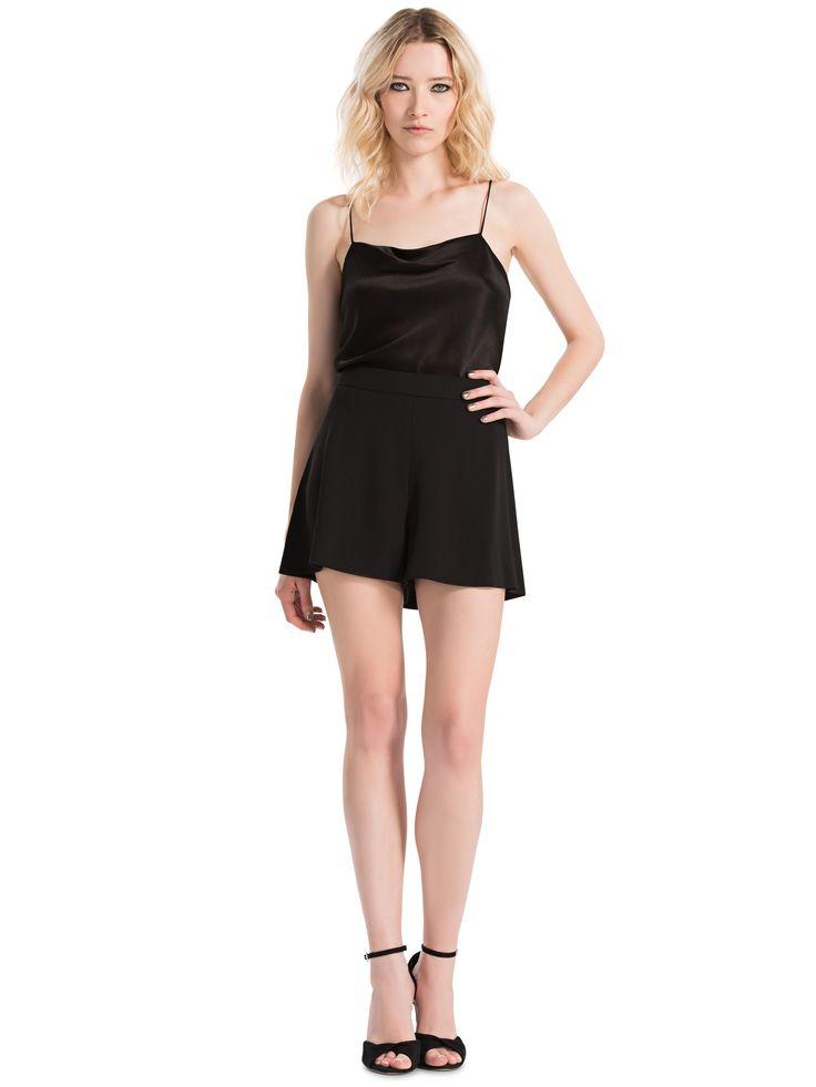 ALICE AND OLIVIA BLACK HARMON DRAPEY SLIP TANK. #aliceandolivia #cloth #