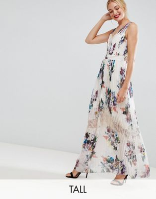 d5941e87d5e Shop Little Mistress Tall pleated maxi dress in floral print in cream multi  at ASOS. Discover fashion online.