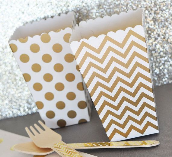 Popcorn Boxes - Gold Chevron Polka Dot or Stripe for Candy Bar - Wedding Favors Party Favor by TeaAndBecky