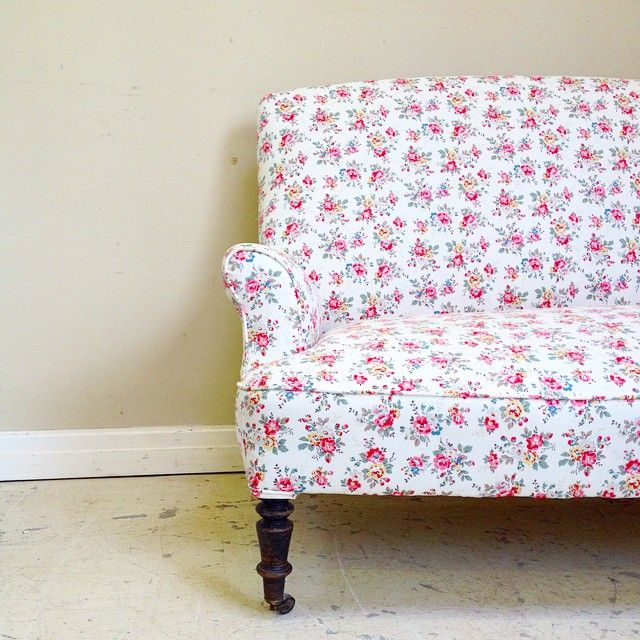 french chair upholstery ideas. very old simple french sofa reupholstered in pretty cath kidston fabric for a client / photo chair upholstery ideas