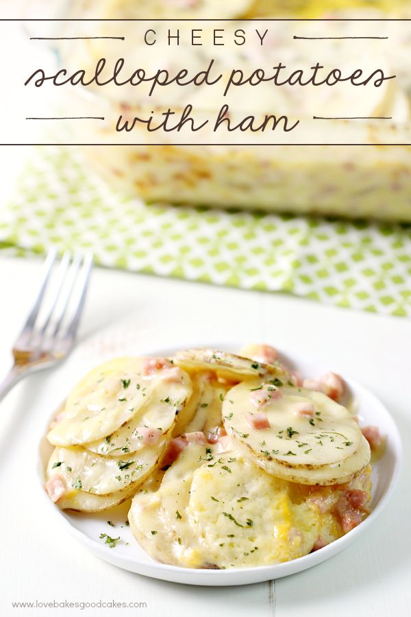 This Cheesy Scalloped Potatoes with Ham recipe is just like grandma used to make! Simple and delicious comfort food! #takebackthetable