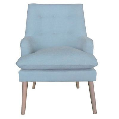 UPHOLSTERED SOFA CHAIR IN PALE TURQUOISE LINEN FABRIC WITH WOODEN LEGS