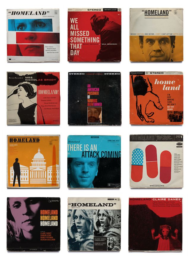 Homeland TV Shows As Jazz Vinyls Covers by American graphic design studio Mattson Creative