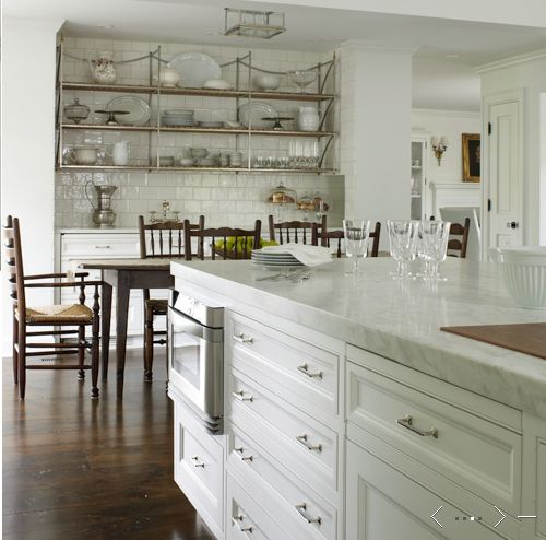 White Kitchen With Open Shelving, Marble Counter Tops