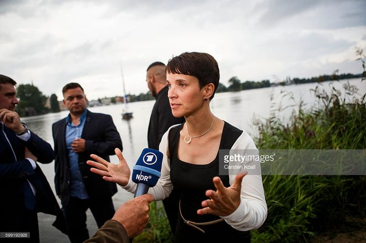 Frauke Petry, Chairwoman of the Alternative for Germany (Alternative fuer Deutschland, or AfD), a newcomer, populist party that also attracts right-wing voters, visits the election party after first numbers of elections results gave the AfD 21,5 % of the vote in state elections in the German state of Mecklenburg-Western Pomerania on September 4, 2016 in Schwerin