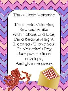 "Poem, ""I'm a Little Valentine"" (free; from Smedley's Smorgasboard of Kindergarten)"