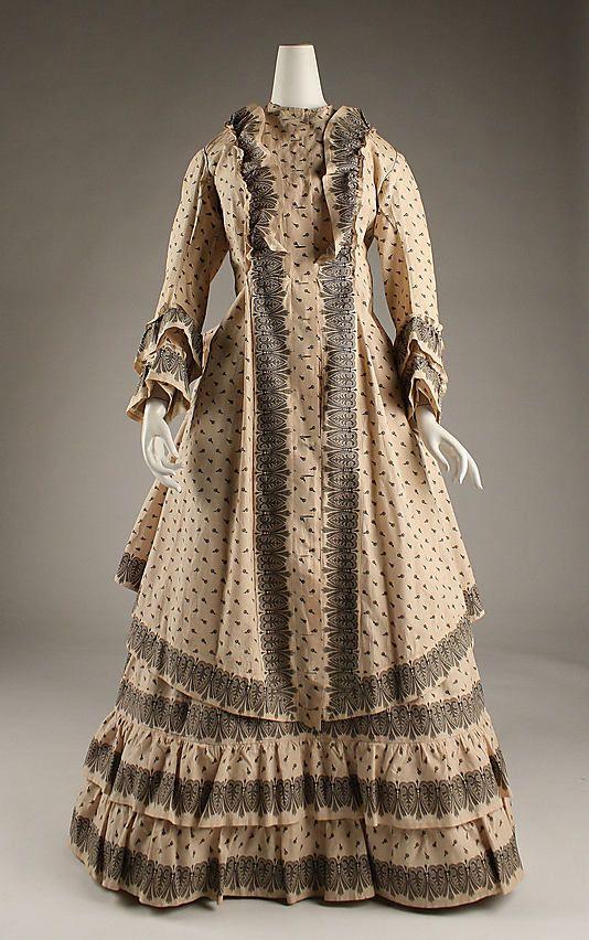 Dress, Morning  Date: 1872–74 Culture: American Medium: cotton  Metropolitan Museum of Art  Accession Number: C.I.43.126.23a, b