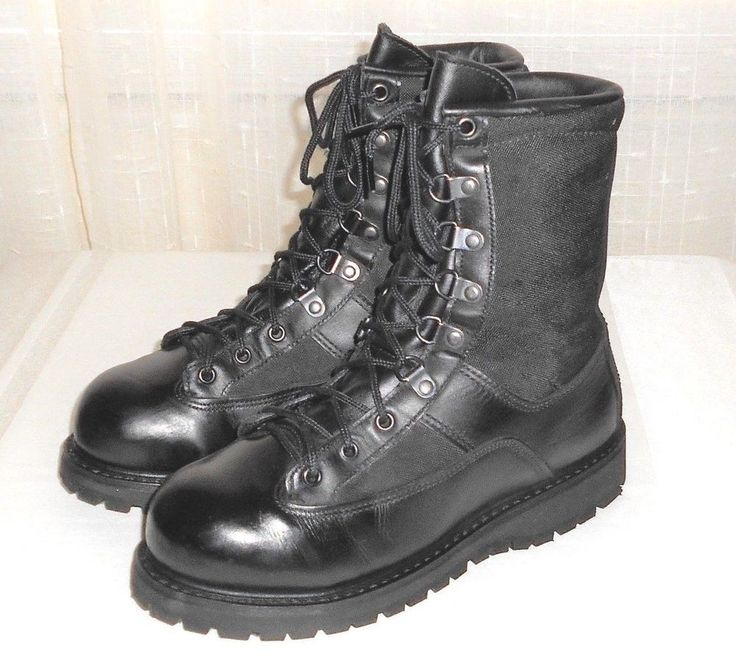 Black Knights 1599 Black Leather Safety Toe Military Combat Boot Made USA  5 M  #BlackKnights #MilitaryCombatLaceUpBoot