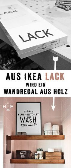 Ikea LACK floating shelf hack | Ikea LACK Wandregal hack Ikea LACK floating shelf hack | Ikea LACK Wandregal hack Ikea hack MOPPE & BEKVÄM nightstand hack | Detaillierte Anleitung in deutsch, wie ein einfaches LACK Regal in ein floating shelf in Vollholz Optik verwandelt werden kann. #diy #ikea #Pinoftheday