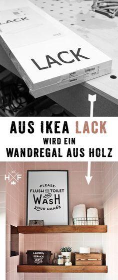 Detaillierte Anleitung in deutsch, wie ein einfaches LACK Regal in ein floating shelf in Vollholz Optik verwandelt werden kann. #diy #ikea #Pinoftheday