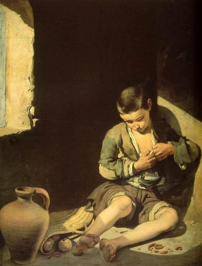 Murillo (1618-1682) De jonge bedelaar (ca. 1650) Olie op doek 134 x 100 cm - Het Louvre