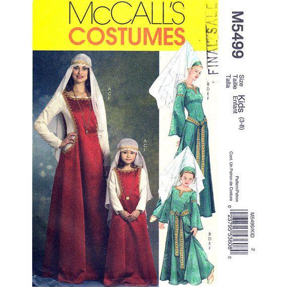 Renaissance Faire Wedding Dress Gown Costume History Mccalls: McCalls 5499 Girls Medieval Princess Costume Pattern