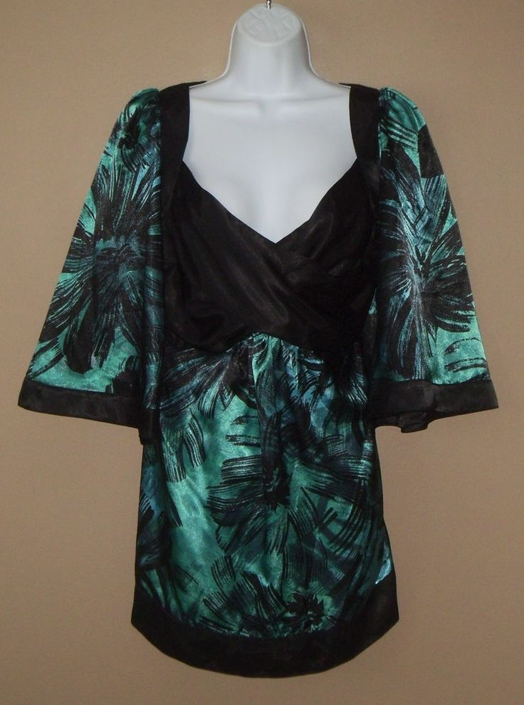 Womens Large 14 16 Short Sleeve Blue Black Blouse Shirt