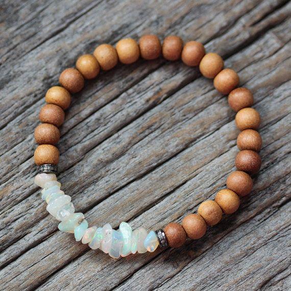 Opal-Diamant-Sandelholz Boho Perlen Armband / Flash rot grün blau / milchig australische Opal / Böhmisches Beadwork Stapeln Armband Schmuck