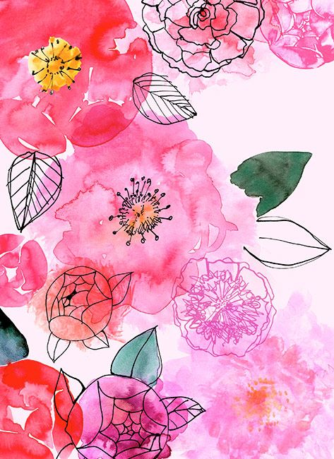 Watercolor florals - easy technique