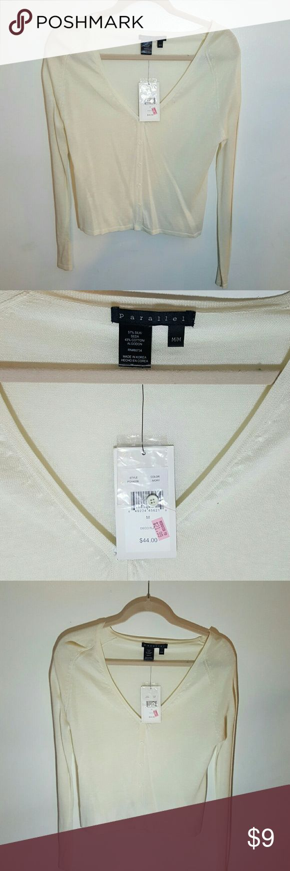*REDUCED* Sheer cream v-neck cardigan super cute v-neck shear cardigan in the color ivory parallel Sweaters Cardigans