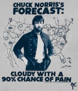 Better bring a paincoat with you today, because Chuck Norris is forecasting today's weather. Cloudy with a 90% chance of pain is today's outlook. He's giving a roundhouse kick the Americans coast to coast. The National Weather Service is calling this a category 4 ass kicking. It is recommended that you seek immediate shelter from the wrath of Hurricane Chuck, but chances are it won't help you. Your only hope is to buy this painfully funny Chuck Norris t-shirt.