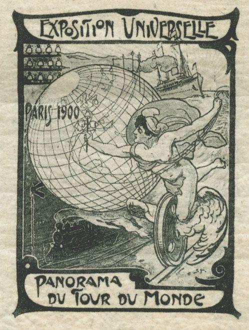 Panorama del tour del mondo, 1900. Su disegno di Alexandre Théophile. Da una serie di bolli chiudilettera emessi in occasione dell'Esposizione Universale di Parigi. Museo della Figurina, Modena.