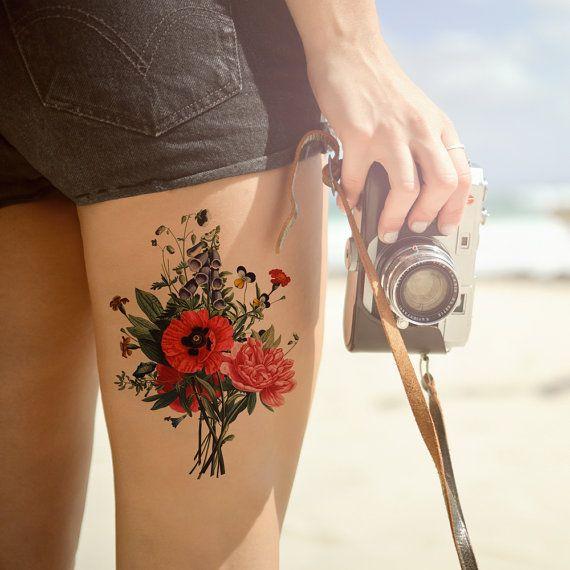 Large Vintage Flowers temporary tattoo Pattern by ArrowTattoo