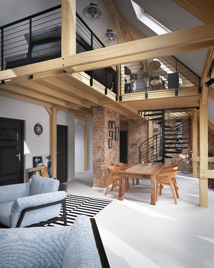 Modern Garage Apartment Designs Ideas 18: Stunning White Hardwood Floors Make This Loft Unique