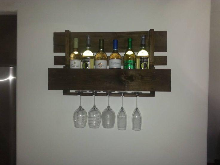 Homemade pallet wine rack