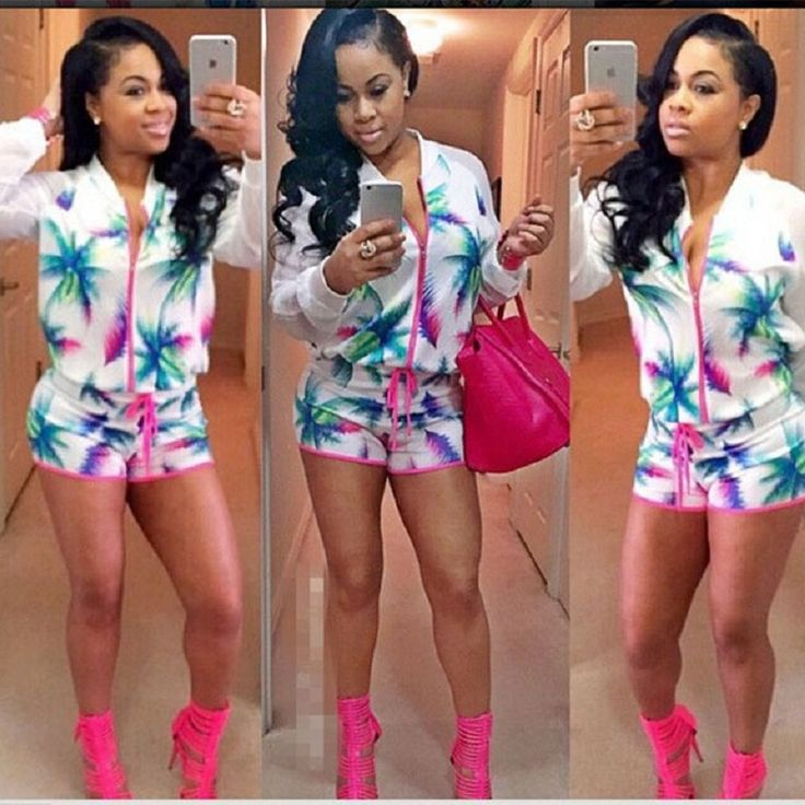 NEW Summer Style 2 Piece Set Women Shorts and Top arrival blazer shorts suit flowers printed crop top casual sets vestidos