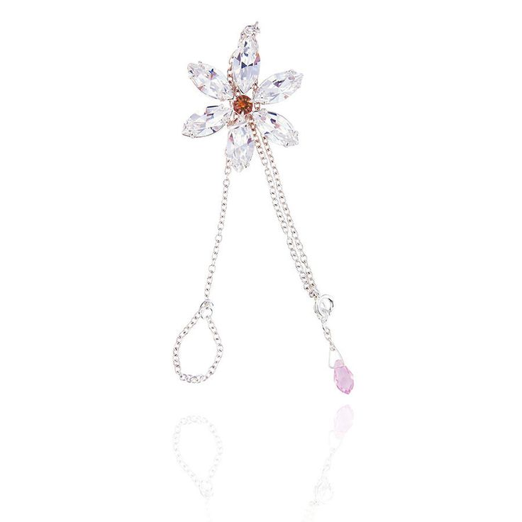 A delicate silver chain bracelet and circlet with sparkling Swarovski crystal flower and rose pink crystal drop clasp.  The stunning crystal flower drapes over the hand creating a beautiful sparkle.  Available in a range of colours. www.jyjewels.com