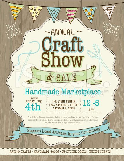 Craft show and sale poster design template royalty-free stock vector art