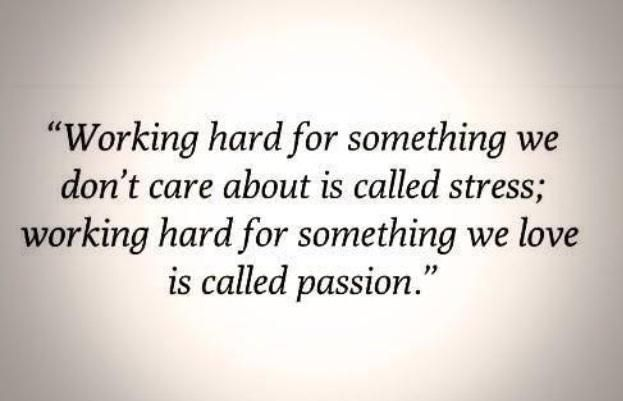 """""""Working hard for something we don't care about is called stress; working hard for something we love is called passion."""" - S. Sinek"""
