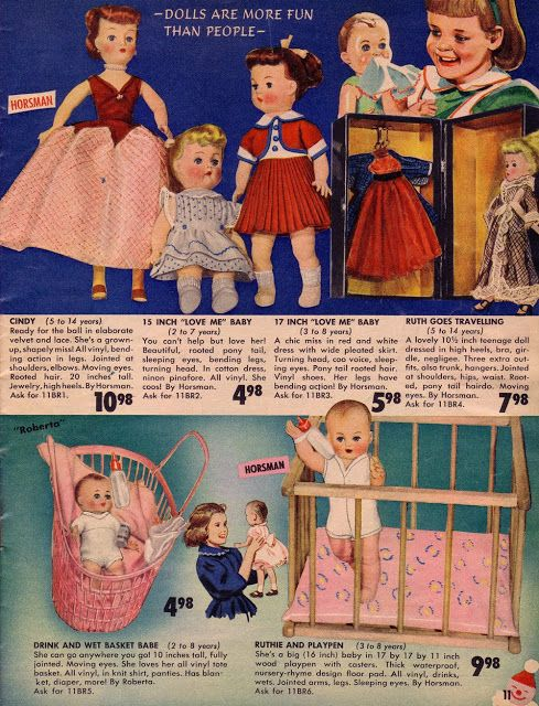 1950's Toy Catalog: Dolls. We couldn't wait for our parents to give these wondrous catalogs to us to savor and dream about. Which one to ask Santa for?