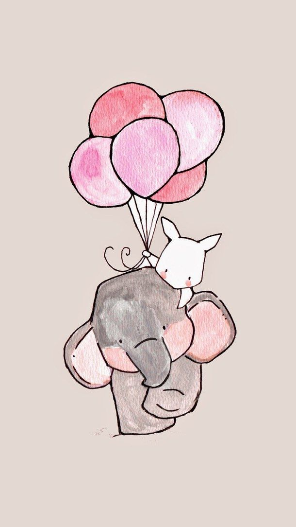 background, balloons, cute, drawing, elephant, iphone, sweet, wallpaper, First Set on Favim.com, рисунок, фоны, First set