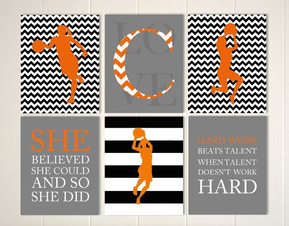 Quotes art for girls, girls basketball art, girls monogram art, girls room wall art, girls poster, sports art, set of 6 by PicabooArtStudio
