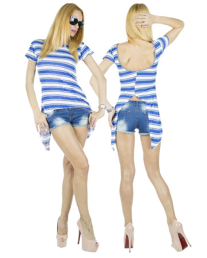 Tricou Dama Coco Blue  -Tricou dama casual  -Model ce cade lejer pe corp si poate fi purtat cu usurinta  -Detaliu taietura indrazneata cu vedere spate     Latime talie:35cm  Lungime:55cm  Lungime colt:85cm  Compozitie:100%Bumbac