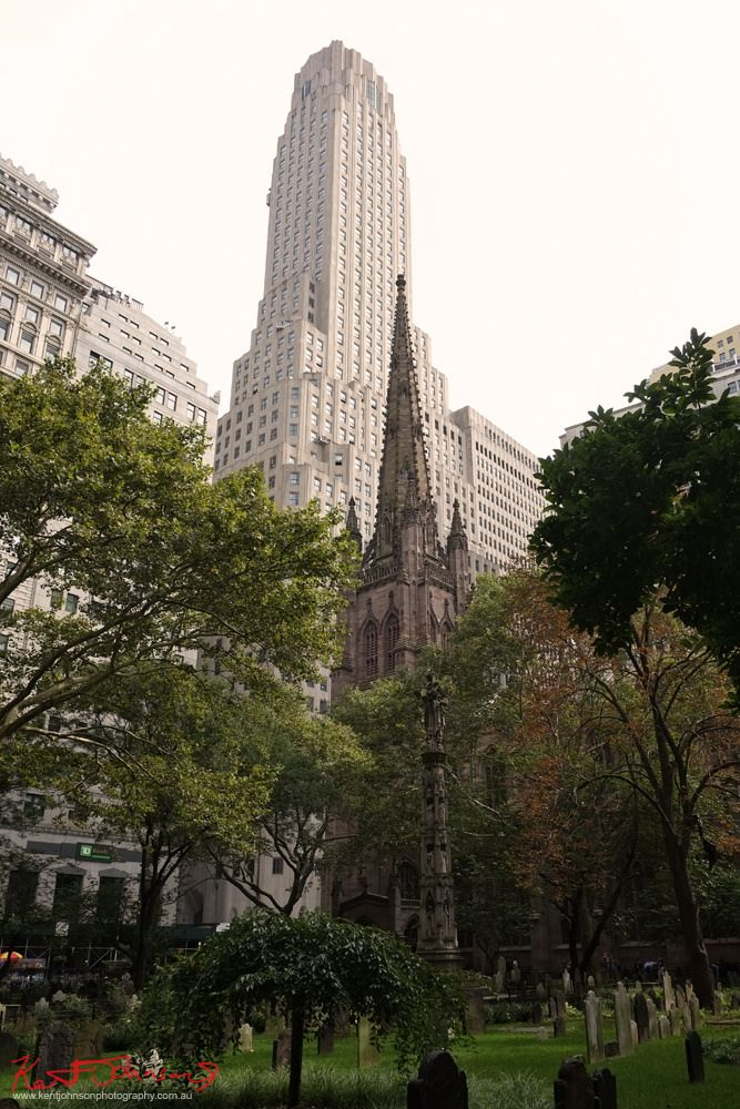 https://flic.kr/p/EFmtU7 | Trinity Church and One Wall Street, NYC. |  An incredible place to find some respite from the constant pump and grind of being touristy in NY. The historic cemetery, and third Trinity Church built on the site 1846, with the Art Deco skyscraper at one Wall Street .