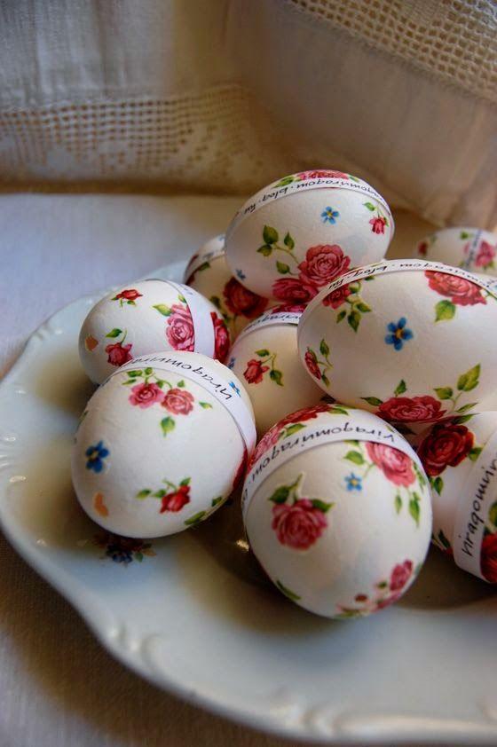 DΕCOUPAGE σε Πασχαλινά αυγά χωρίς κόλλα