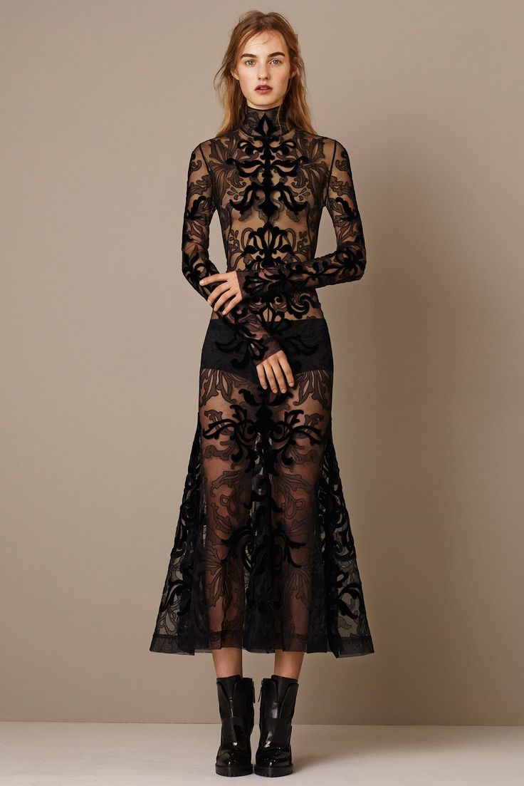 Transparent lace dress from Alexander McQueen Pre-Fall 2015 Fashion Show - (Maartje Verhoef)