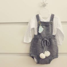 Grey knitted romper with white pon pons color - 18 medium grey available…