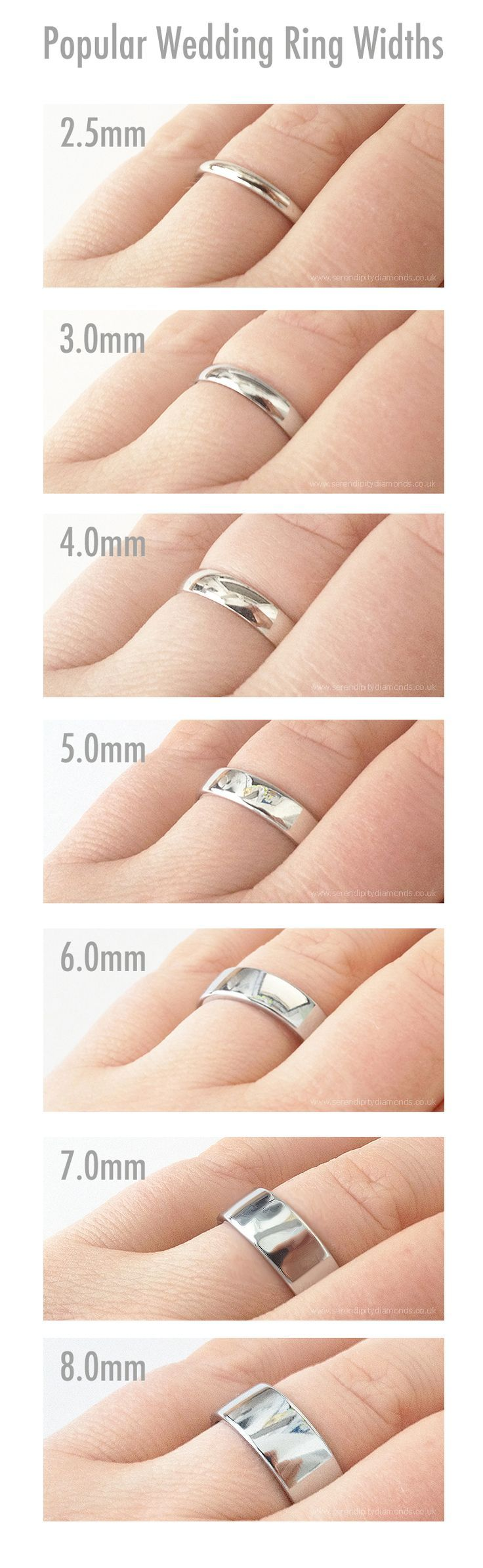 Popular widths of plain wedding rings. Showing 2.5mm to 8mm as popular choices for men's plain wedding rings. #wedding-pinned by wedding decorations specialists http://dazzlemeelegant.com