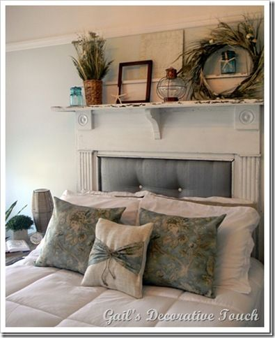 "I like the pillow fabric and the way they ""tied in"" the plain pillow. The mantle headboard looks great! Savvy Southern Style: Wow Us Wednesdays #31"