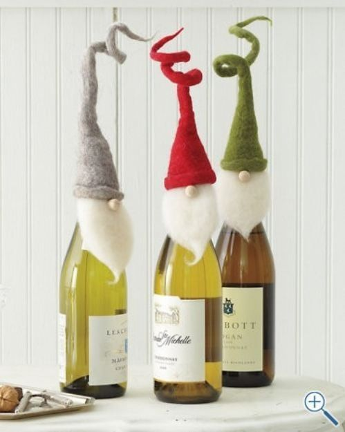 Wine Bottle Crafts | cute holiday wine bottle covers | Christmas Crafts