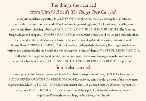 the things they carried short story essay The things they carried is a short story written by tom o'brien and included in the eponymous collection of stories dedicated to the vietnam war.