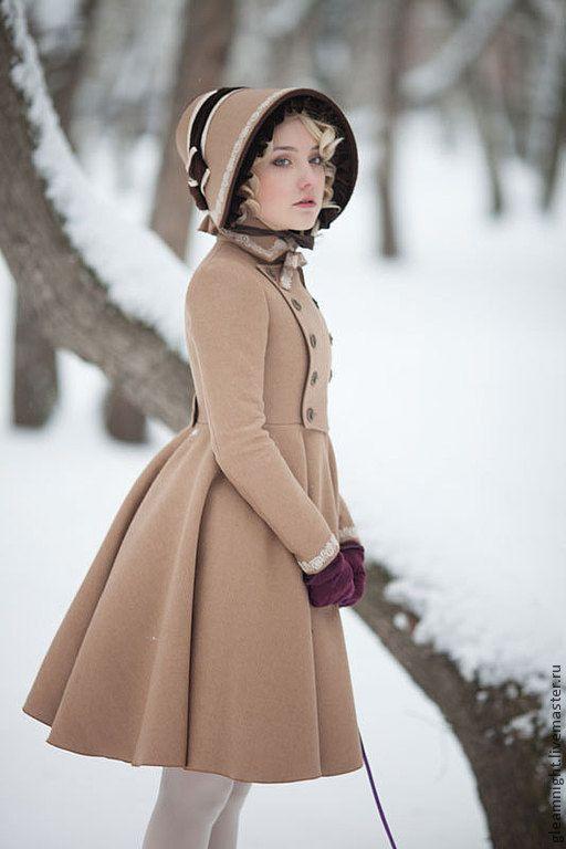 """Купить Демисезонное детское пальто в стиле """"Лолита"""" - бежевый, однотонный, демисезонное пальто, пальто"""