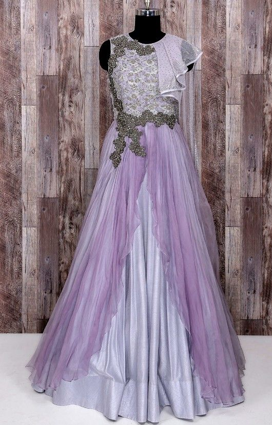 9d6cc86c3f Beautiful Net and Silk Gown with Hand Embroidery embellishments. Modern  silhouette with traditional traditional embroidery create beautiful Dress.