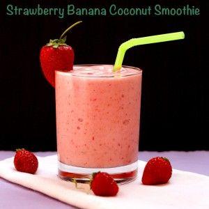 Strawberry Banana Coconut Smoothie | cupcakesandkalechips.com | #glutenfree #vegan #strawberries