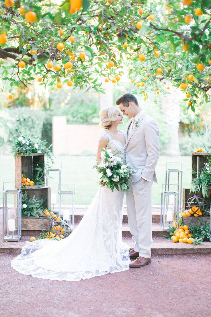 1 Vintage Orange Grove Wedding at Royal Palms, Phoenix AZ Photos by Andrew Jade Photograpgh.jpg #orangegrove #citrus #scottsdaleweddingplanner #azweddingdesigner #centerpiece #tablescapes #bridalbouquet #greenery #invitations #dustyblue #ceremonydecor